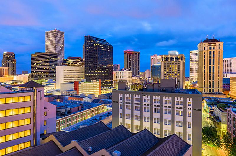 Anochecer en el Central Business District, Nueva Orleans, EEUU