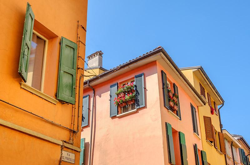 Casas del barrio de Pratello, Bolonia, Italia