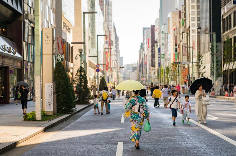 Calle del barrio Ginza, Tokio, Japón
