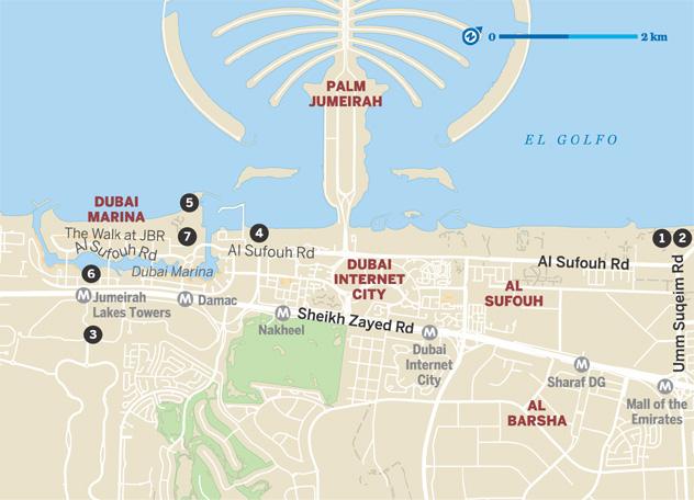 Mapa de los lugares para ir de 'brunch' los viernes en Dubái