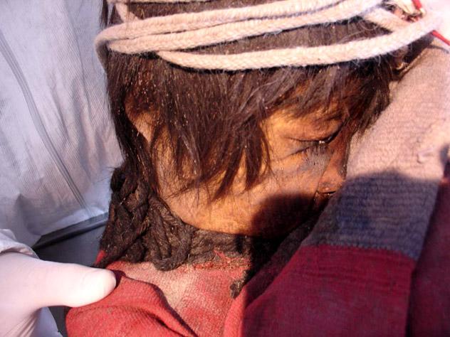 """""""El niño"""", una de las momias de los niños del Llullaico, Museo de Arqueología de Alta Montaña, Salta, Argentina © Joseph Castro / CC"""
