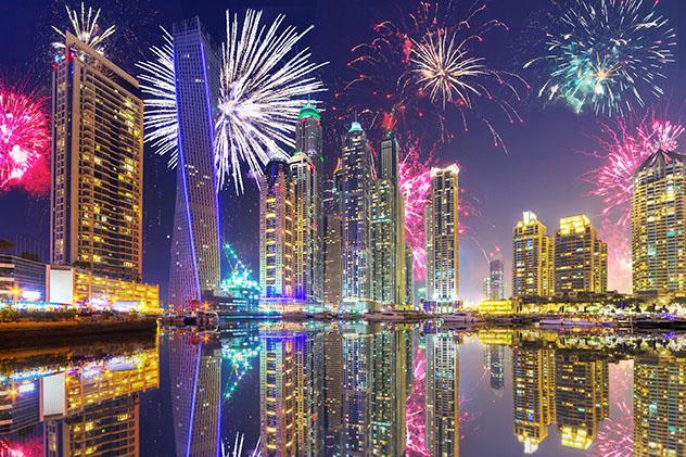 Fin de Año en Dubái, fuegos artificiales