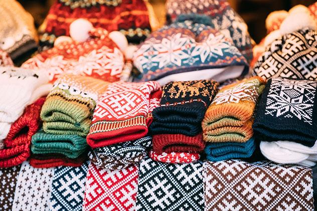 Las famosas prendas de punto de las Shetland son un gran recuerdo, Escocia © Grisha Bruev / Shutterstock