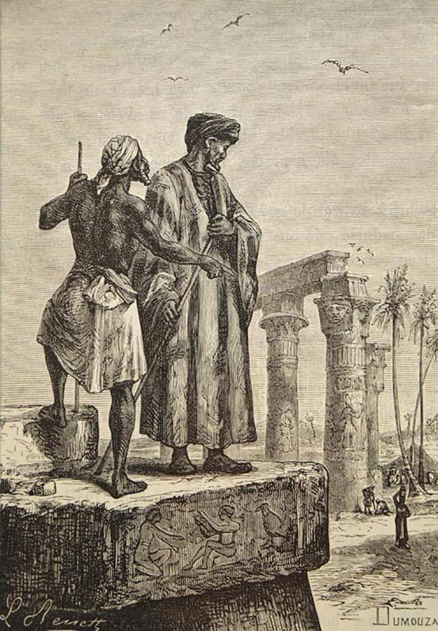 """Ilustración de Ibn Battuta de1878, del libro de Julio Verne """"Historia de los grandes viajes y de los grandes viajeros""""dibujadapor Léon Benett"""