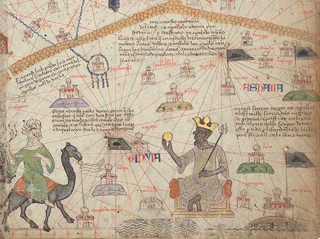 """Detalle de la página 6 del """"Atlas Catalán"""" atribuido a Abraham Cresques, 1375, en el que aparece Mansa Musa"""