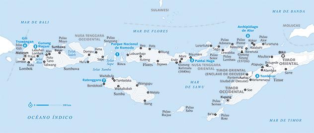 Nusa Tenggara, Indonesia: mapa del archipiélago