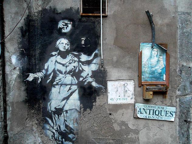 Nápoles: arte urbano, la 'madonna' de Banksy