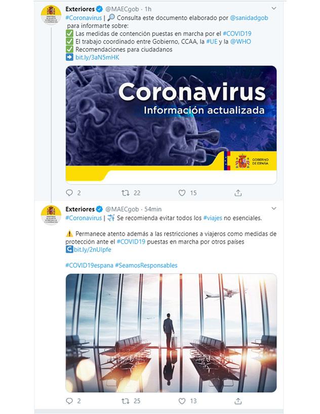Twitter del Ministerio de Asuntos Exteriores del Gobierno de España
