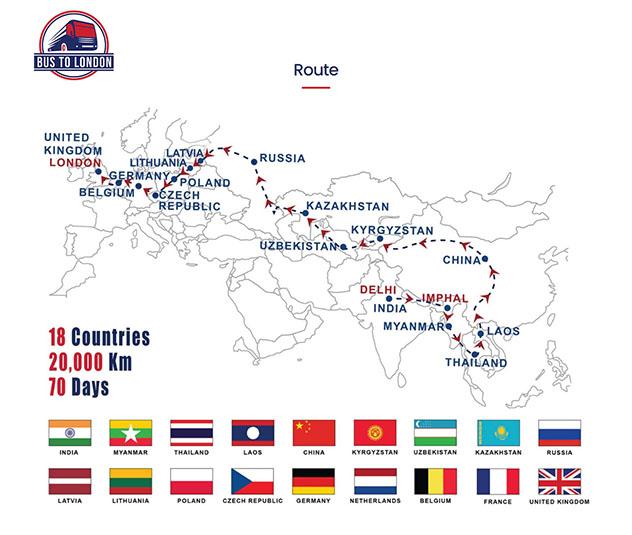 Mapa del itinerario Bus To London