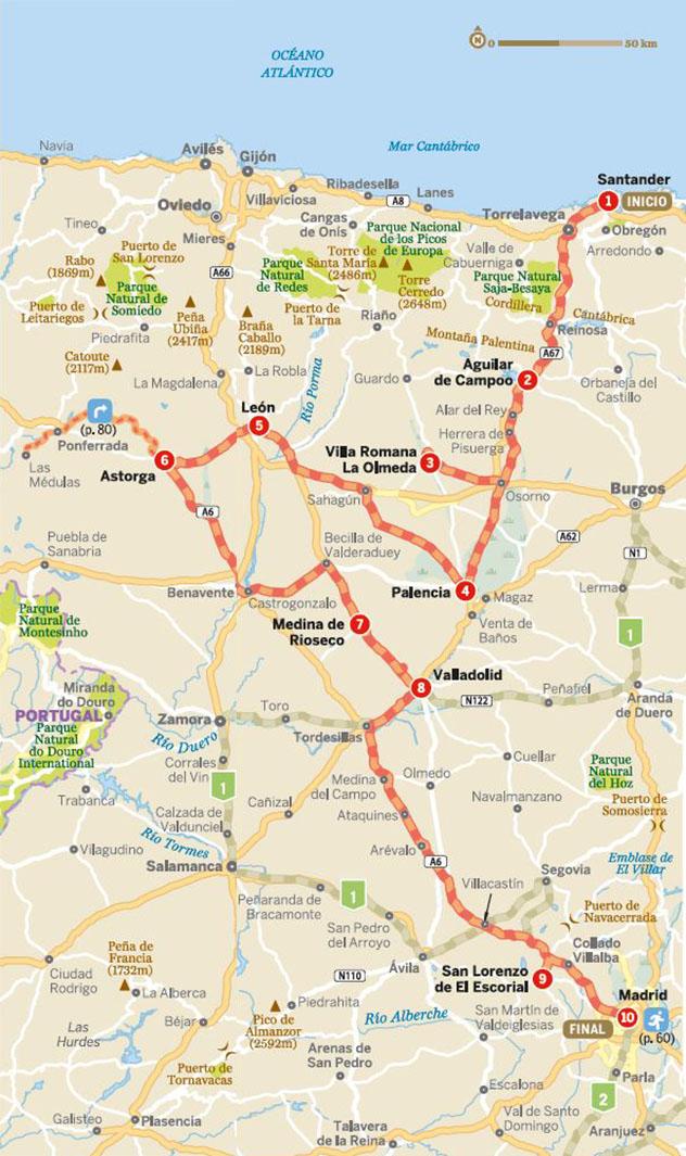 Mapa de la ruta por el corazón de la España interior