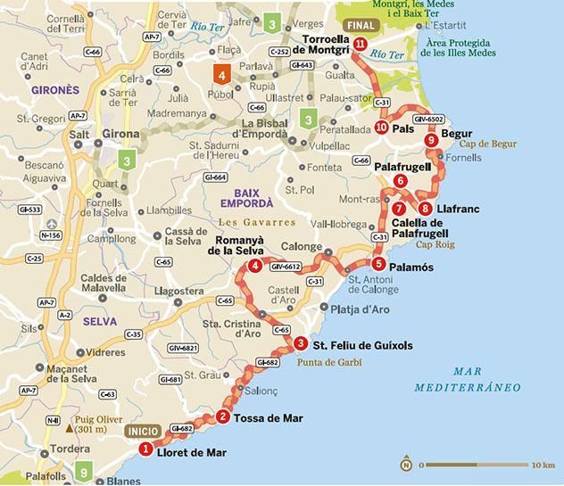 Mapa de la ruta por la Costa Brava, Cataluña por carretera