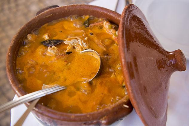 Arroz con marisco típico de Lagos, gastronomía de Algarve, Portugal