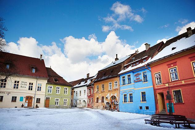Europa en invierno: Sighişoara, Transilvania, Rumanía