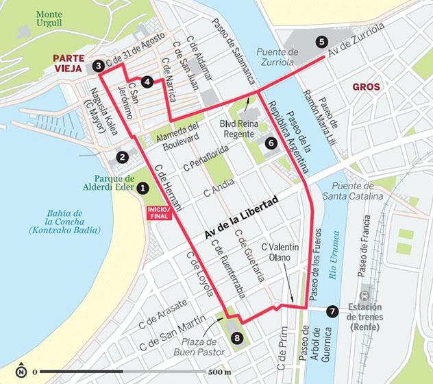 Mapa del paseo a pie por San Sebastián