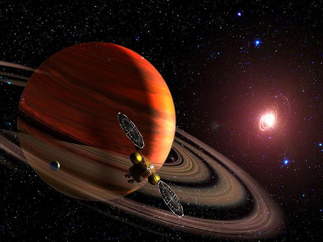 El planeta Saturno, sistema solar, universo