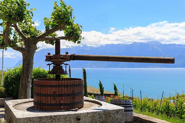 Prensa antigua de uva en un viñedo de la famosa región de Lavaux, Vevey, Suiza © sarenac77/ Shutterstock