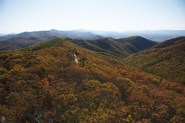 Turismo sostenible: sostenibilidad. En la Virginia Mountain Bike Trail los ciclistas pasan por los Bosques Nacionales George Washington y Jefferson, Virgina, costa este de EE UU