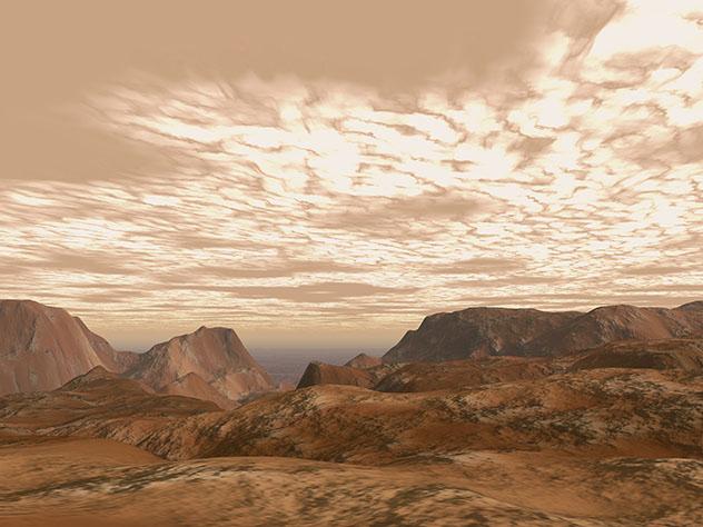 Subir al cráter de Olympus Mons en Marte