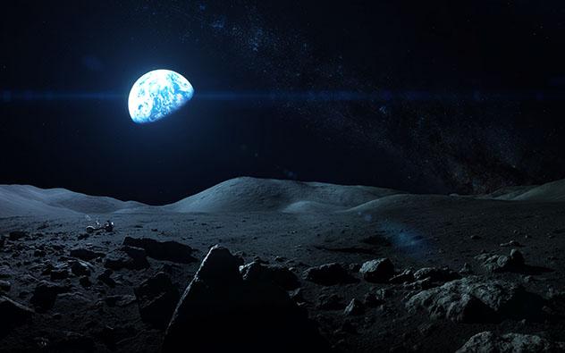 Ver la Tierra sobre el horizonte lunar