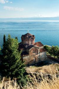 Iglesia ortodoxa de Sveti Jovan en Kaneo, sobre el lago Ohrid, Macedonia