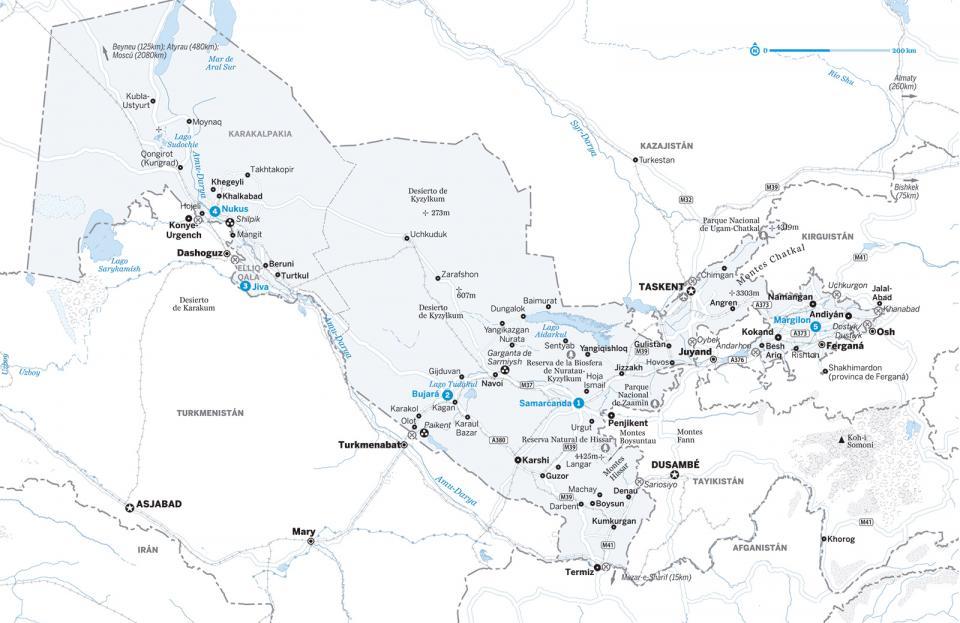 Mapa de Uzbekistán para preparar tu viaje a Uzbekistán de la forma más sencilla
