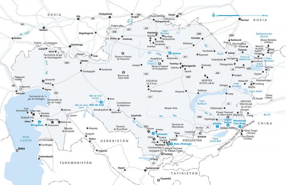 Mapa de Kazajistán para preparar tu viaje a Kazajistán de la forma más sencilla