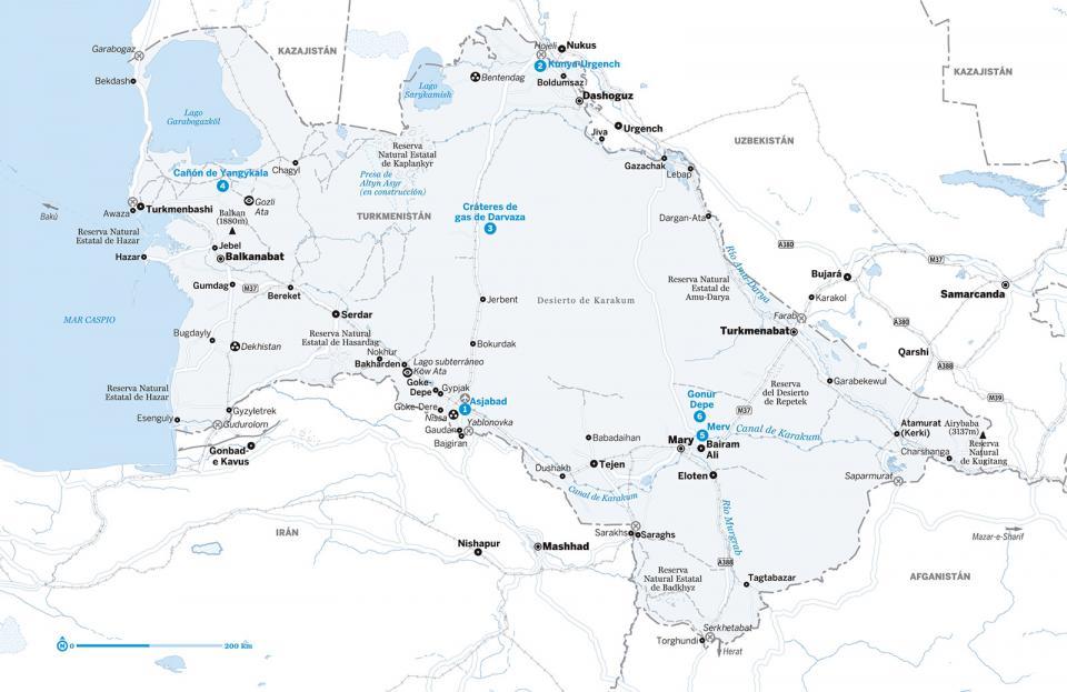 Mapa de Turkmenistán para preparar tu viaje a Turkmenistán de la forma más sencilla