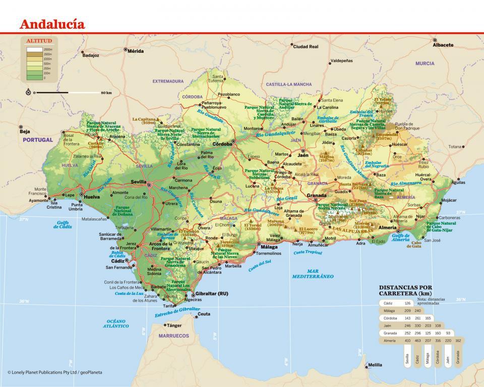 Mapa de Andalucía para preparar tu viaje a Andalucía de la forma más sencilla.