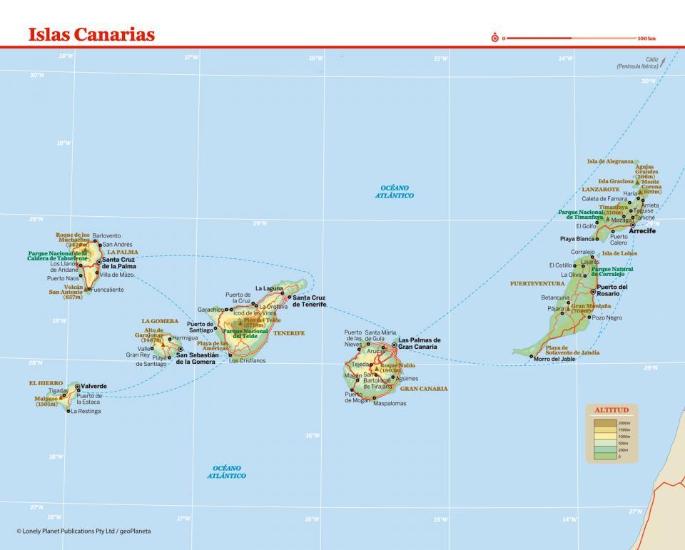 Mapa de Canarias para preparar tu viaje a Canarias de la forma más sencilla.