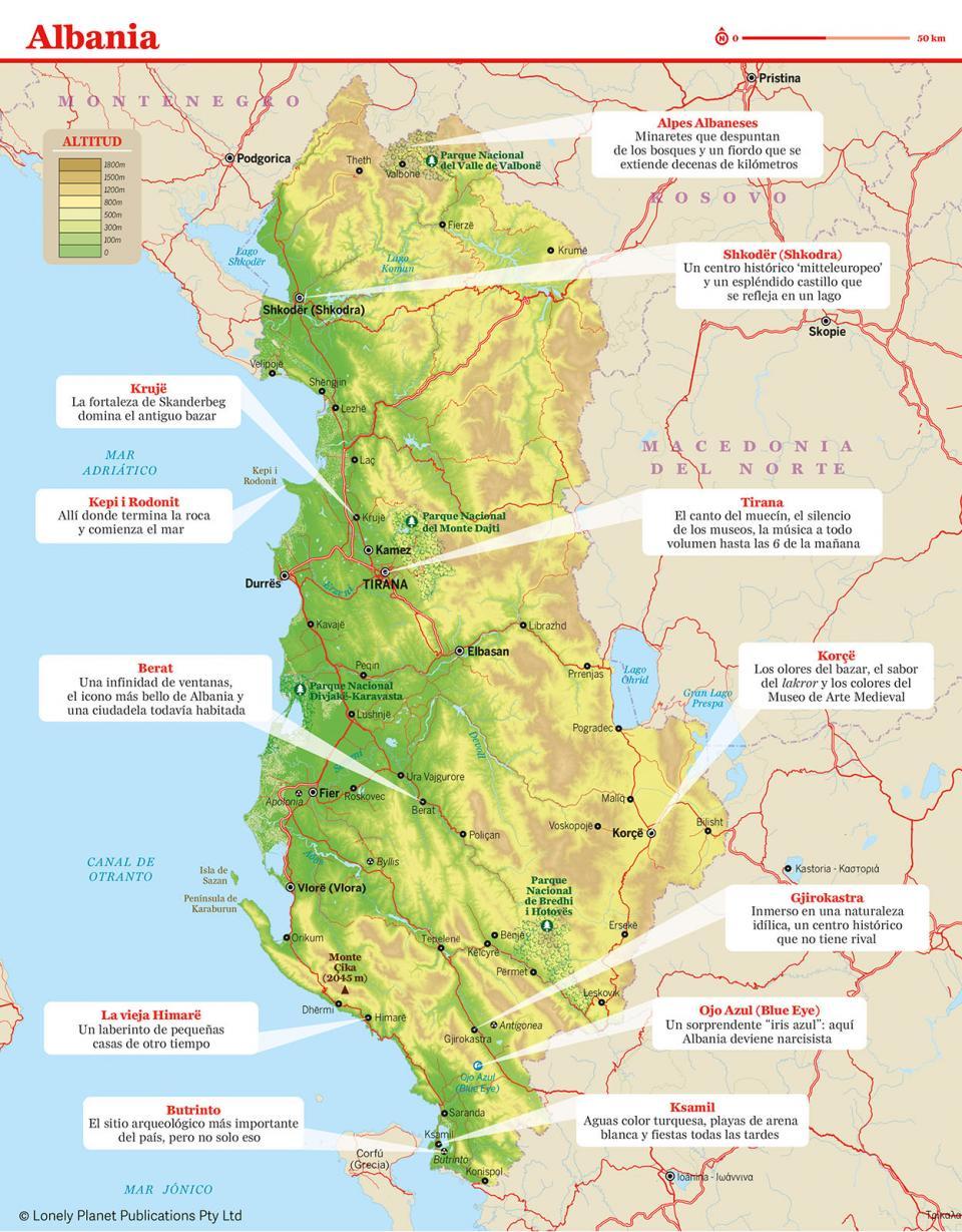 Mapa de Albania para preparar tu viaje a Albania de la forma más sencilla.