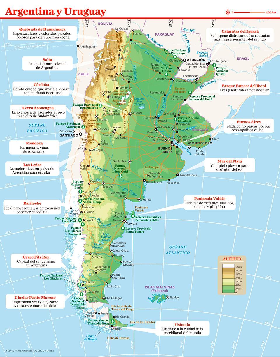 Mapa de Argentina para preparar tu viaje a Argentina de la forma más sencilla.