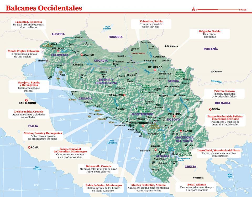 Mapa de los Balcanes Occidentales para preparar tu viaje a Bosnia y Herzegovina de la forma más sencilla.
