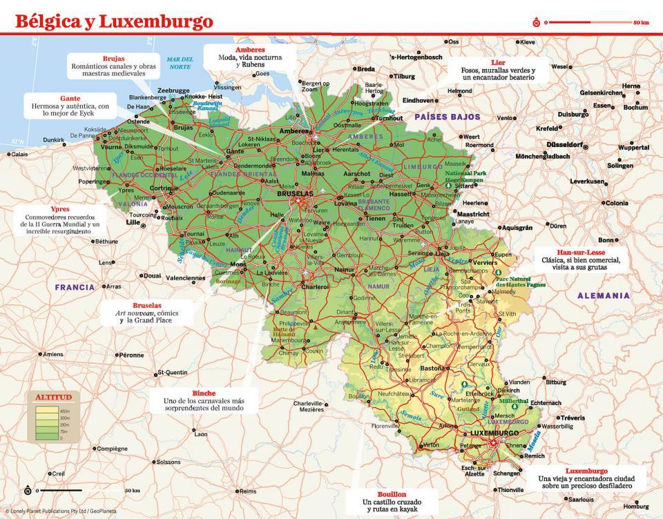 Mapa de Bélgica para preparar tu viaje a Bélgica de la forma más sencilla