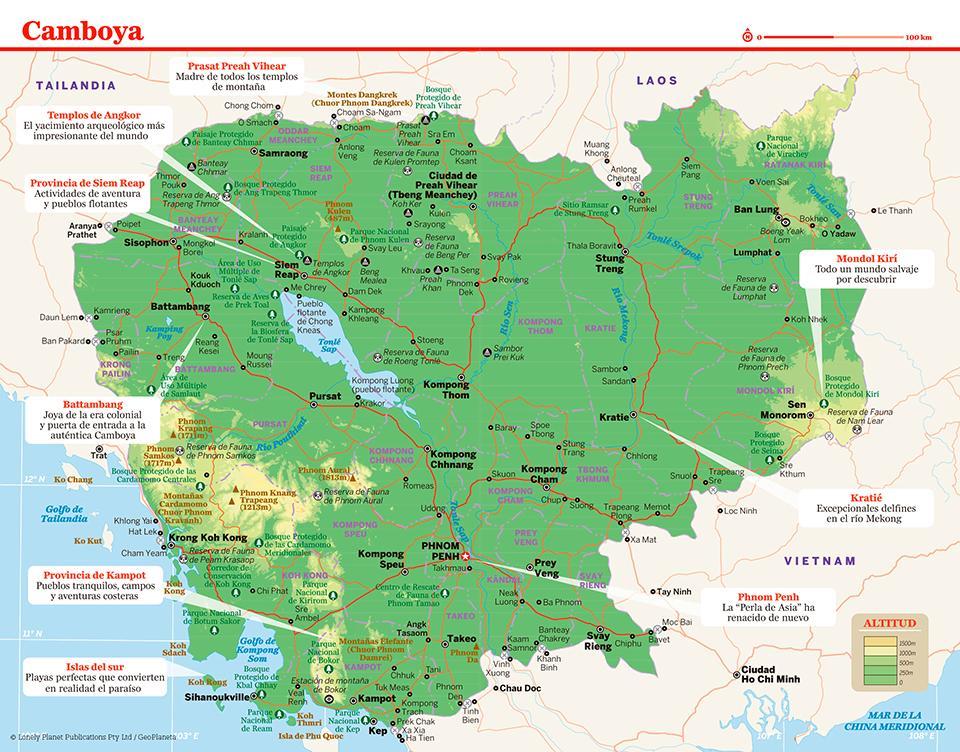 Mapa de Camboya para preparar tu viaje a Camboya de la forma más sencilla.