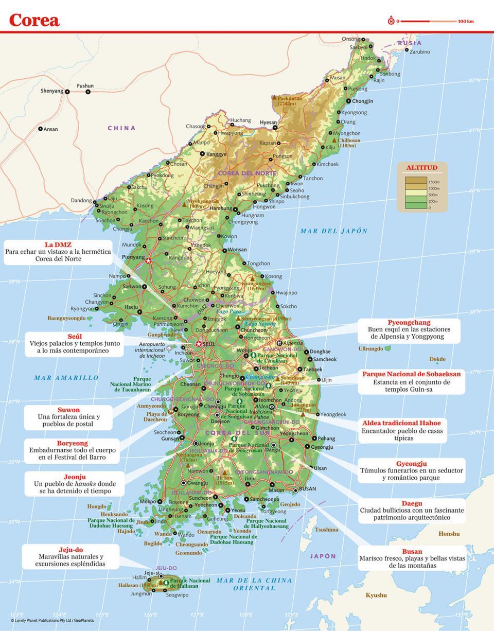 Mapa de Corea del Sur para preparar tu viaje a Corea del Sur de la forma más sencilla.