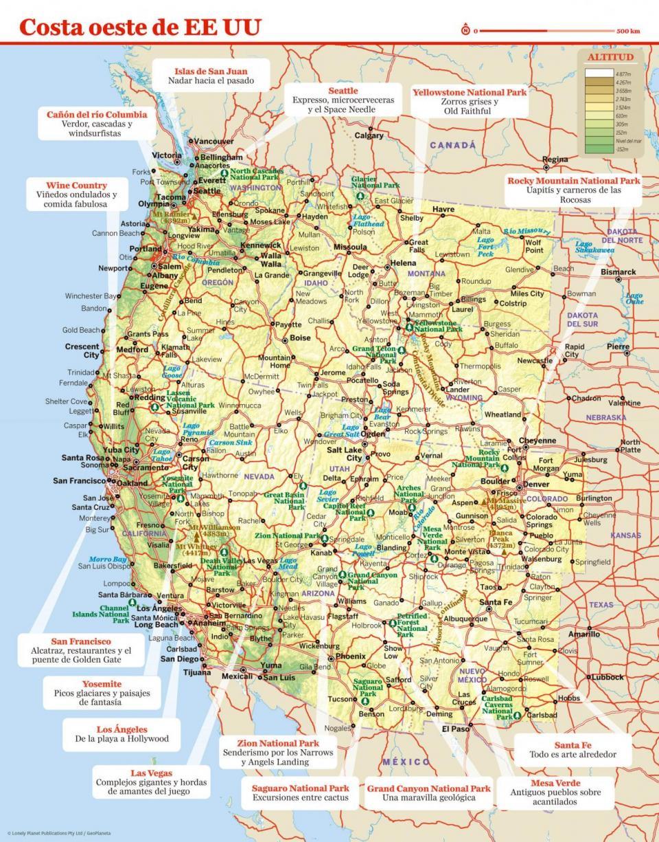 Mapa de la costa oeste de EE UU para preparar tu viaje a la costa oeste de EE UU de la forma más sencilla