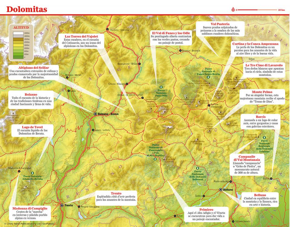Mapa de Dolomitas para preparar tu viaje a Dolomitas de la forma más sencilla
