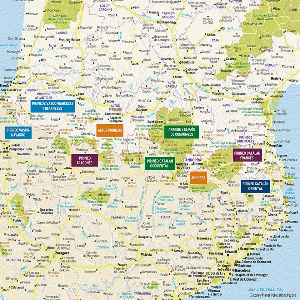Mapa de Pirineos para preparar tu viaje de la forma más sencilla.