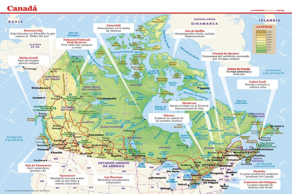 Mapa de Canadá para preparar tu viaje a Canadá de la forma más sencilla.