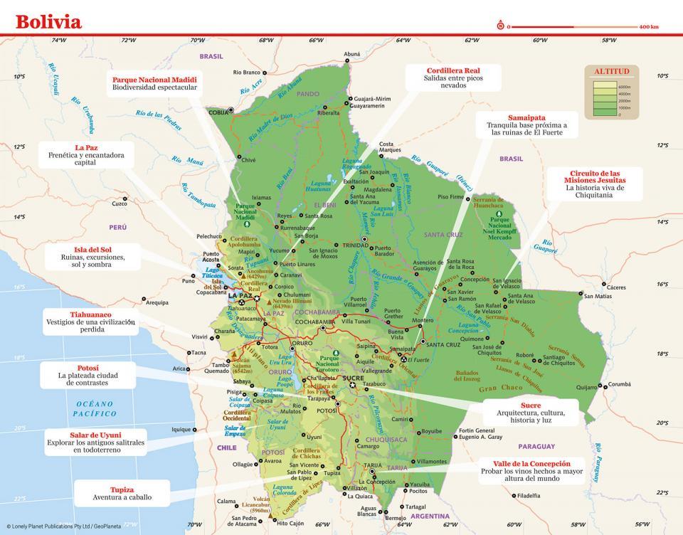 Mapa de Bolivia para preparar tu viaje a Bolivia de la forma más sencilla