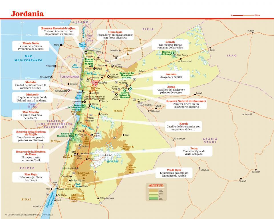 Mapa de Jordania para preparar tu viaje a Jordania de la forma más sencilla.