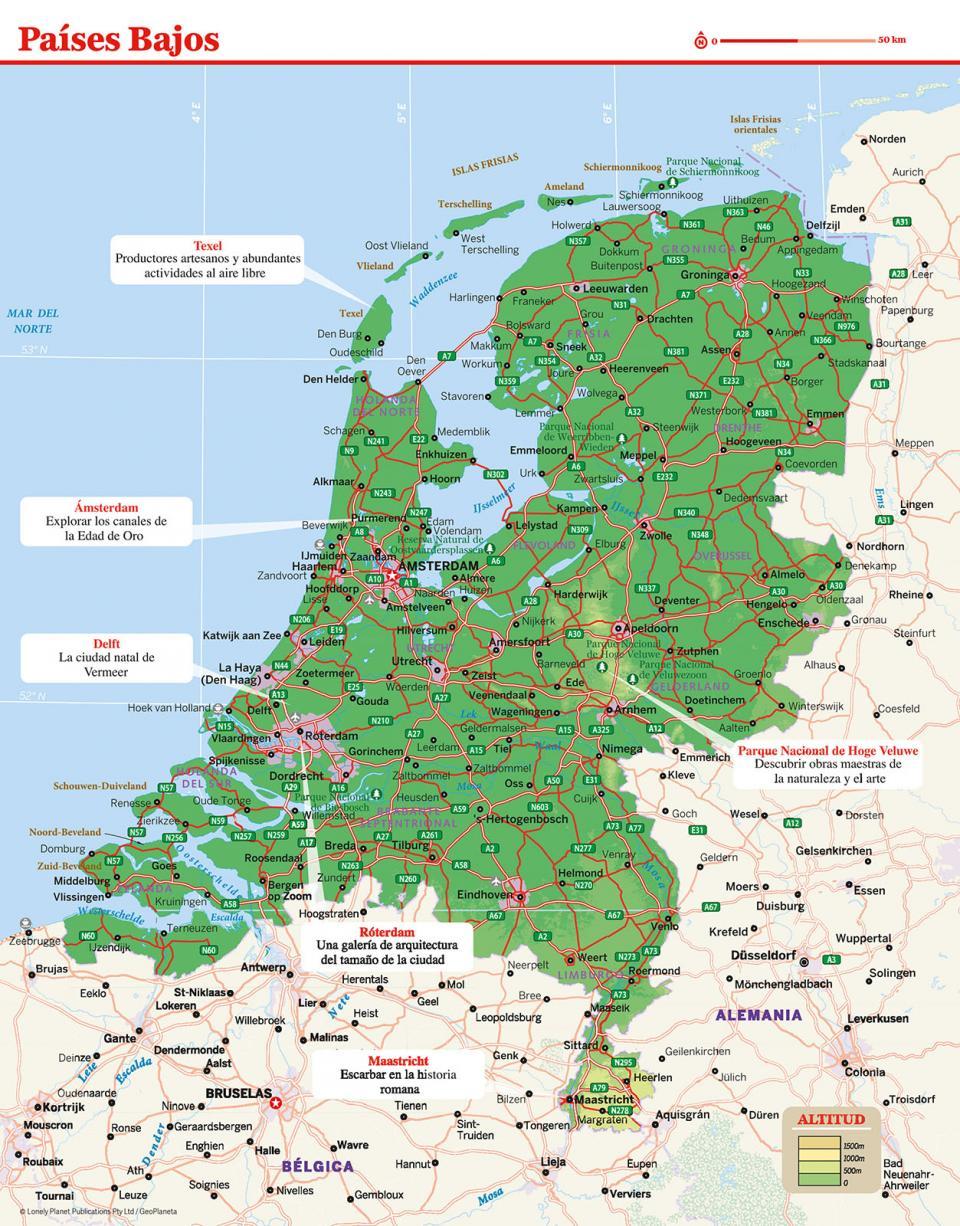 Mapa de los Países Bajos para preparar tu viaje a los Países Bajos de la forma más sencilla