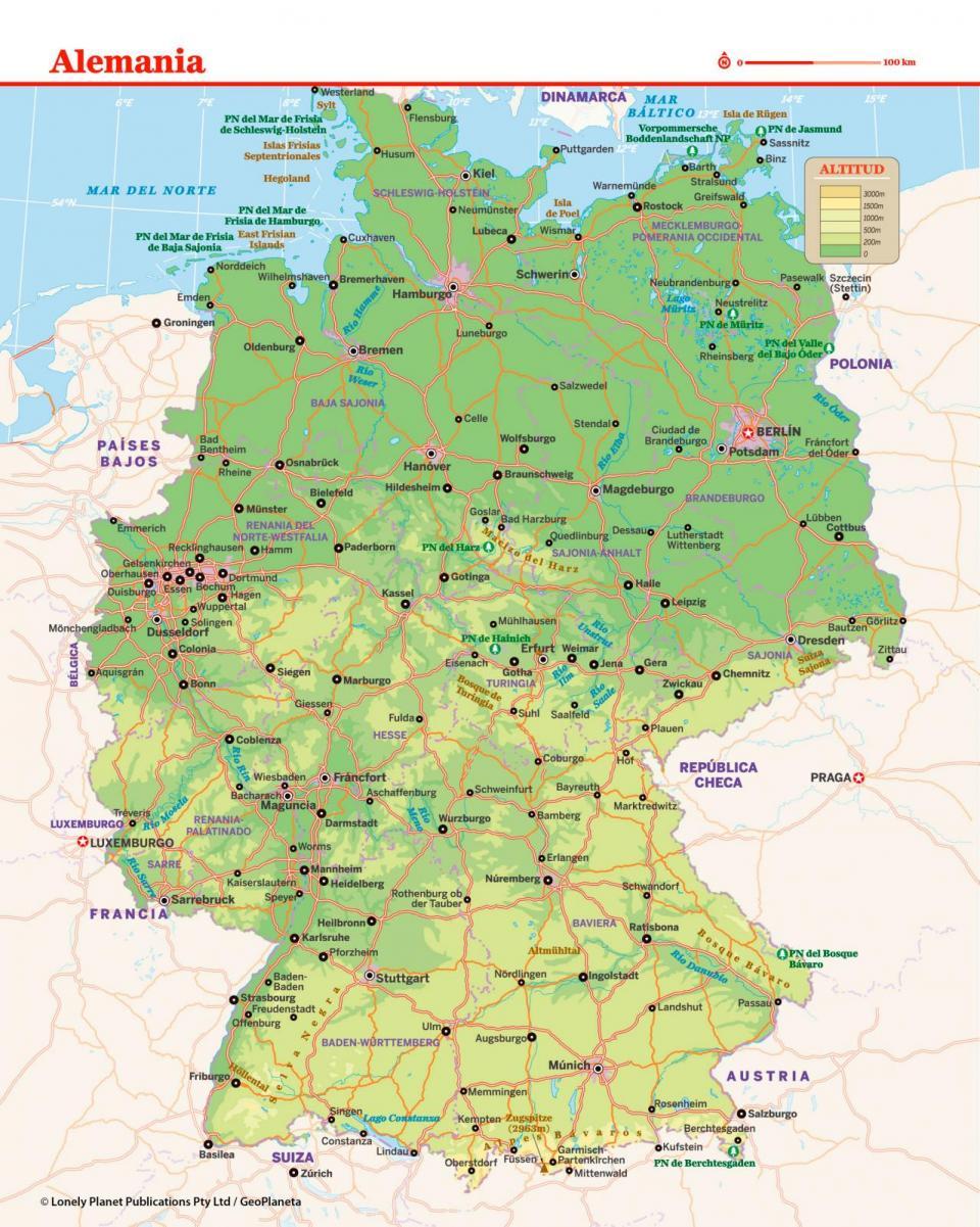 Mapa de Alemania para preparar tu viaje a Alemania de la forma más sencilla.
