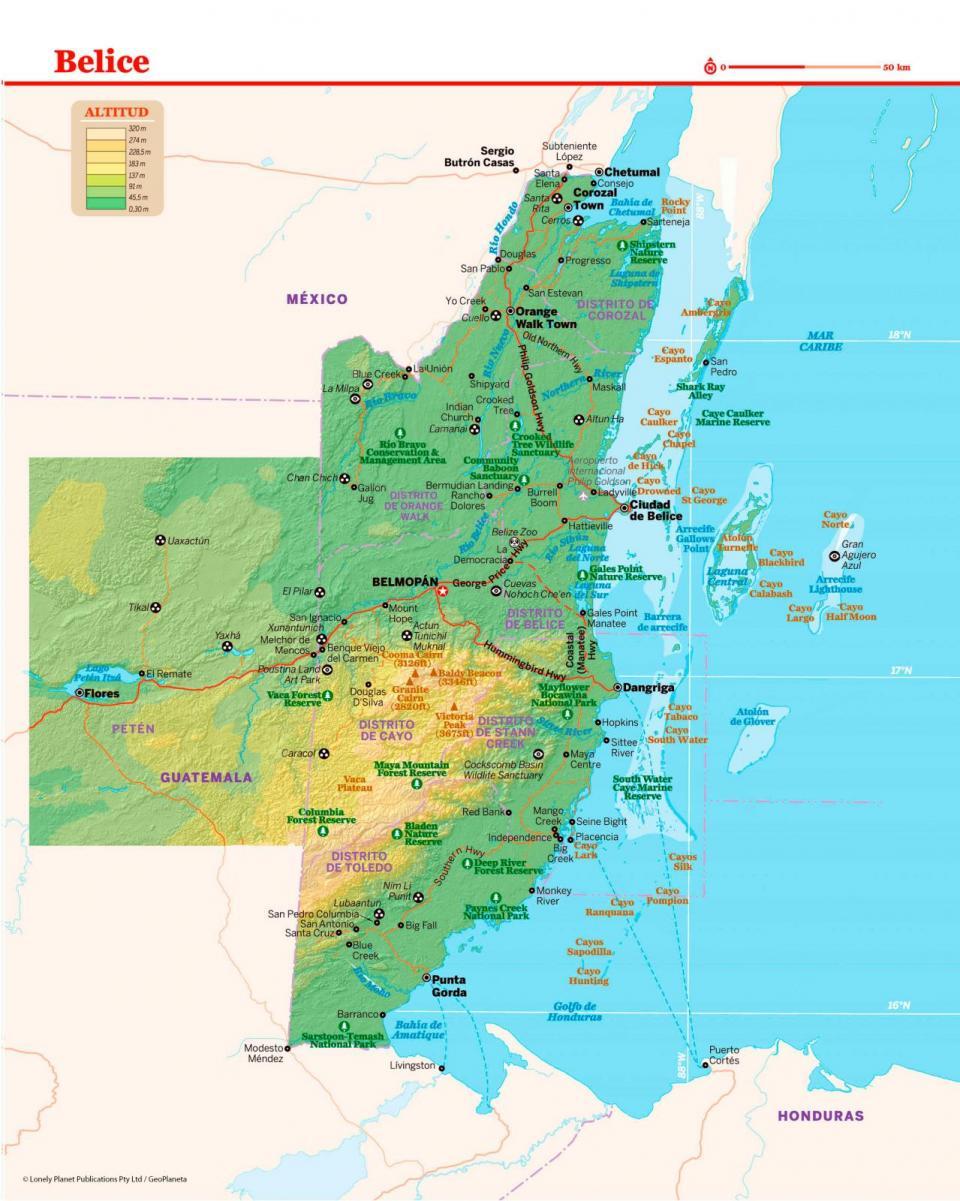 Mapa de Belice para preparar tu viaje a Belice de la forma más sencilla.