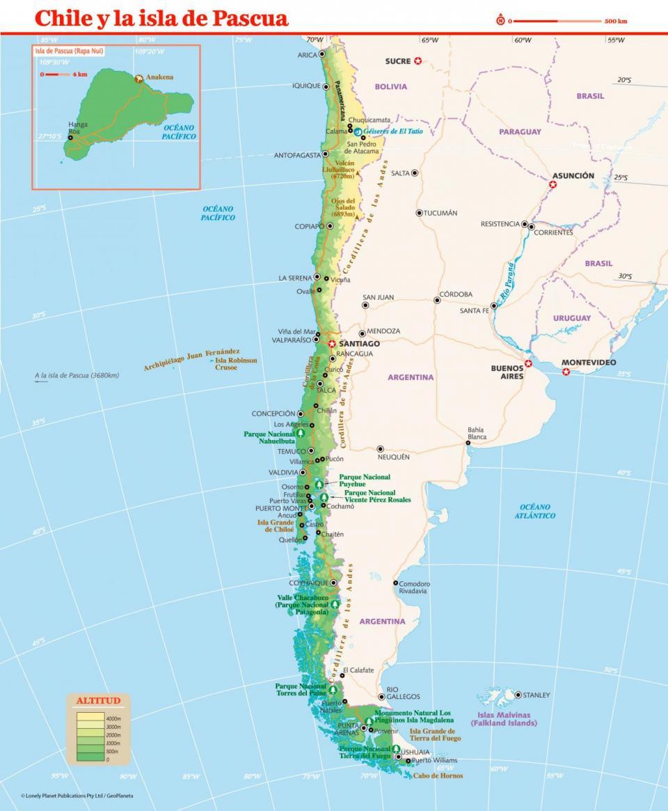 Mapa de Chile para preparar tu viaje a Chile de la forma más sencilla.