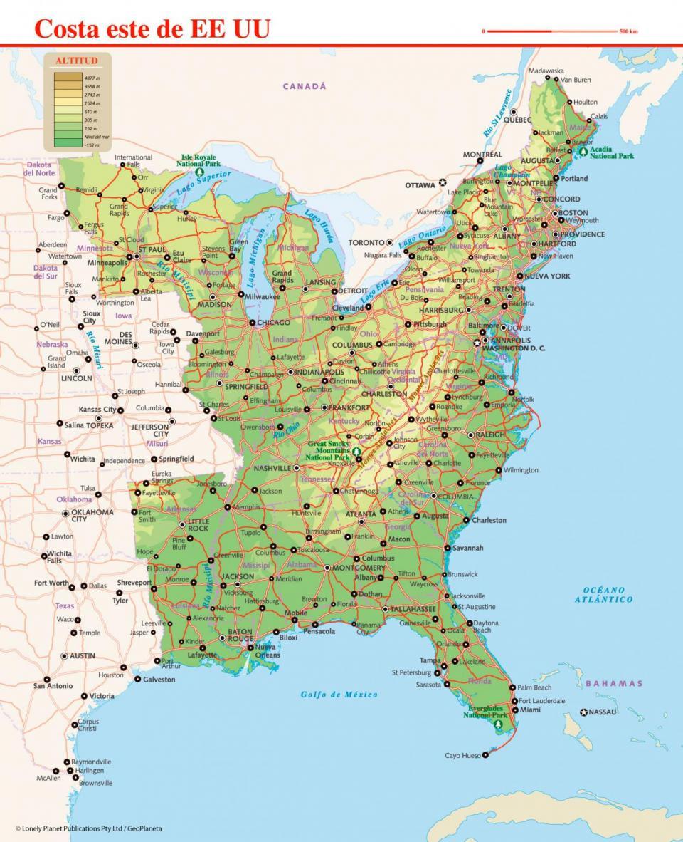Mapa de la costa este de EE UU para planificar tu viaje a la costa este de Estados Unidos de la forma más sencilla.