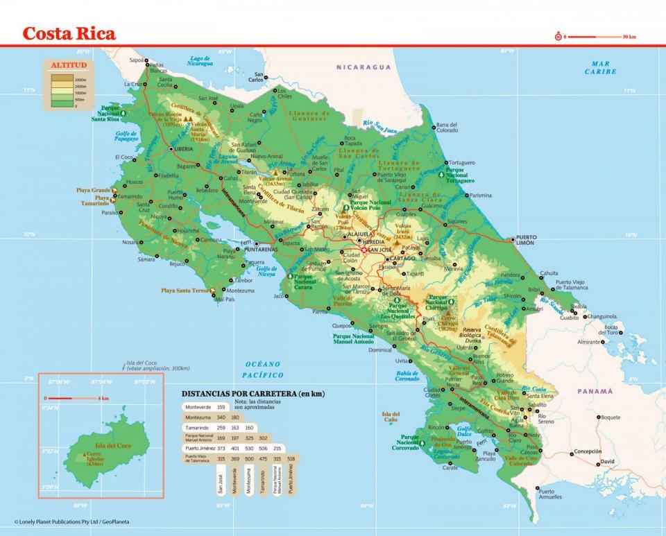 Mapa de Costa Rica para preparar tu viaje a Costa Rica de la forma más sencilla.