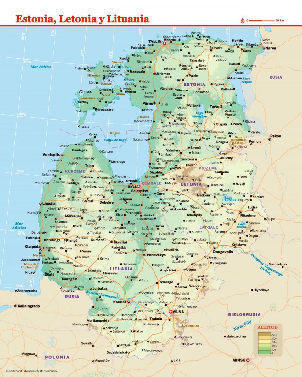 Mapa de Letonia para preparar tu viaje a Letonia de la forma más sencilla.