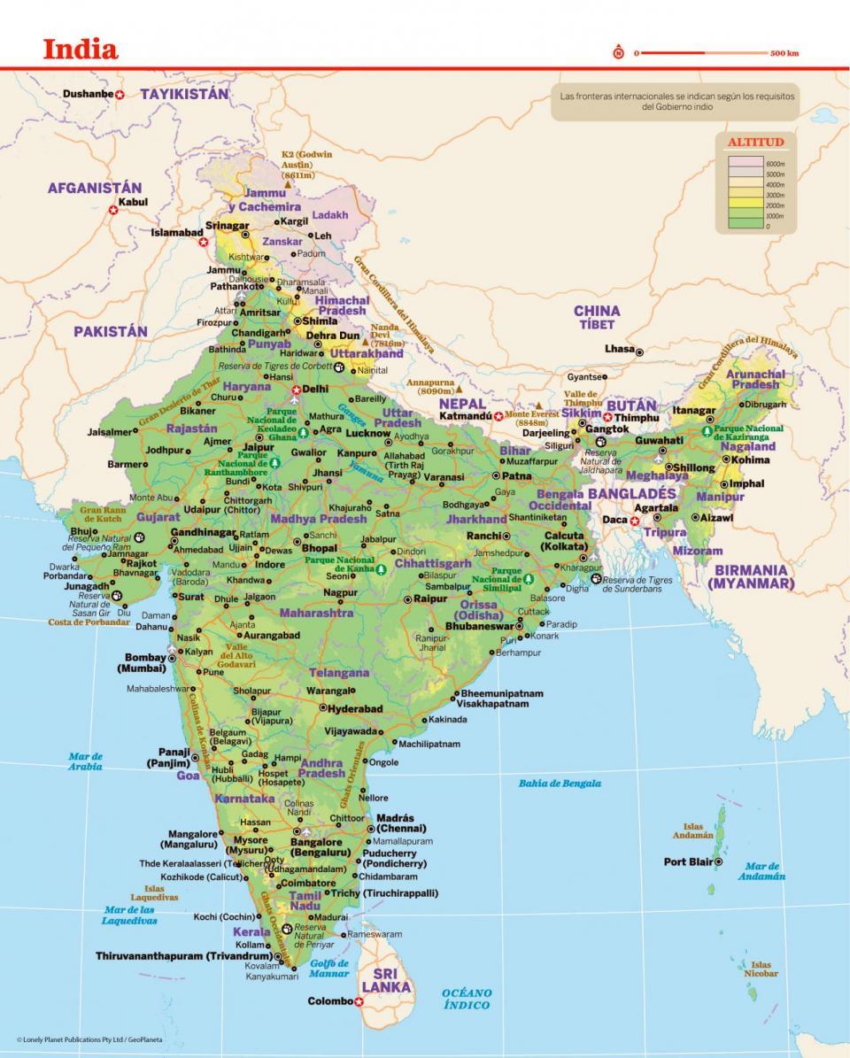 Mapa de la India para preparar tu viaje a la India de la forma más sencilla.