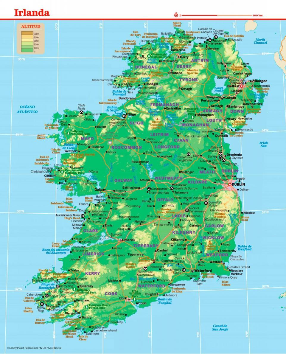 Mapa de Irlanda para preparar tu viaje a Irlanda de la forma más sencilla.